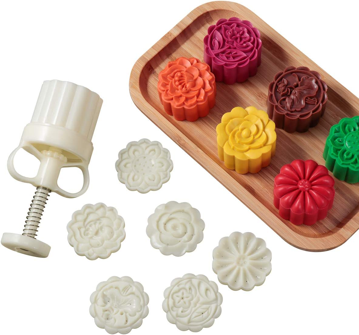 6Pcs Stamps 50g Square Flower Moon Cake Mold Mould Pastry Mooncake DIY Hand Tool