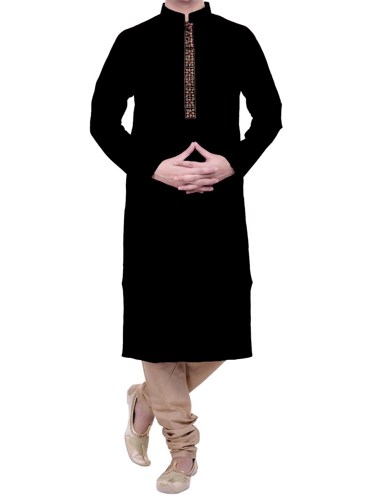 2 Piece Cotton Gold Trim Button-Down Kurta (Black, M)