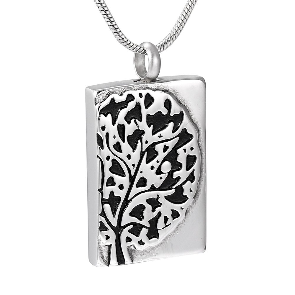 JC9913 Tree Of Life &Dog Tag Memorial Urn Pendant Necklace Funeral Jewelry For Cremation Ashes by EternityMemory (Image #1)
