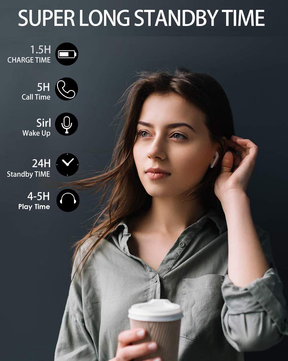 Kabellose Kopfh/örer in Ear Bluetooth 5.0 Sport Kabellose Stereo-Minikopfh/örer mit IPX5 Wasserdicht,Mikrofon Wei/ß-i9X f/ür Smartphone