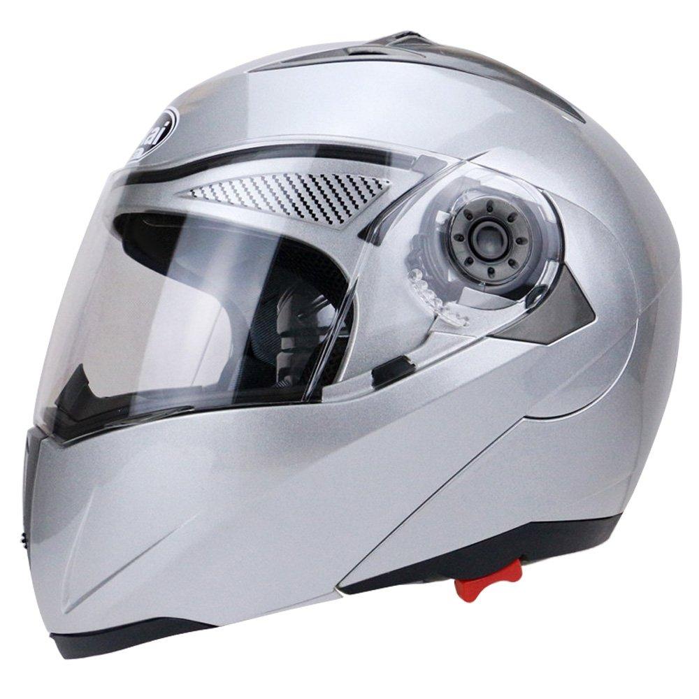 d9ee1bfc Amazon.com: Full Face Motorcycle Helmet Dual Visor Street Bike with Transparent  Shield(SILVER-L): Automotive
