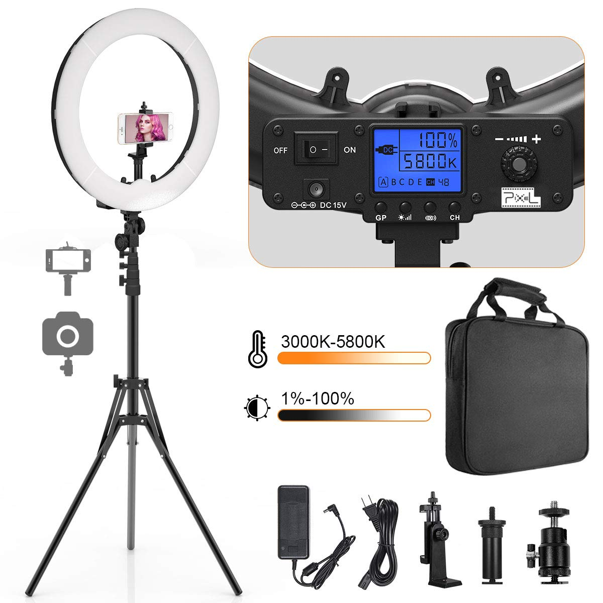 Ring Light, Pixel 19'' Bi-Color LCD Display Ring Light with Stand, 55W 3000-5800K CRI≥97 Light Ring for Vlogging Selfie-Portrait Makeup Video Photography Shooting by PIXEL