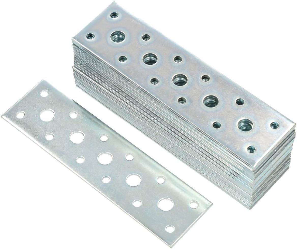 KOTARBAU conector plano 145 mm x 40 mm placa perforada galvanizada plata conector de madera interior – exterior placa perforada acero conector chapa perforada hierro plano