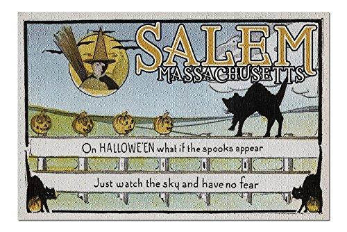 Salem, Massachusetts - Halloween Greeting - Cat on Fence - Vintage Artwork (20x30 Premium 1000 Piece Jigsaw Puzzle, Made in USA!)