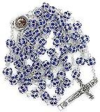Nazareth Store Blue Zircon Crystallized Beads Rosary Necklace Catholic Cross with Holy Mary Medal
