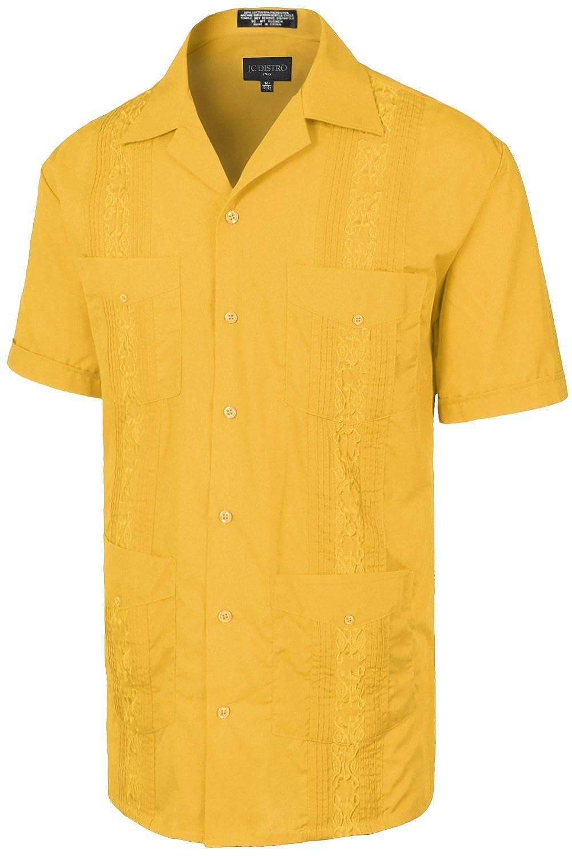 JC DISTRO Men's Premium Classic Embroidered Guayabera Short Sleeve Shirt (Size Upto 4XL)