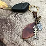 Women Key Chains 4.3x3.8CM Charm Alloy Maple Leaf Pendant Keychain Vintage Metal Car Styling Keyring Leather Braided Key Chain Bag Accessories