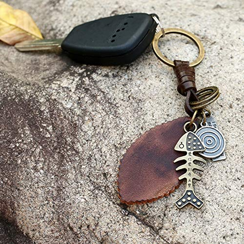 Women Key Chains 4.3x3.8CM Charm Alloy Maple Leaf Pendant Keychain Vintage Metal Car Styling Keyring Leather Braided Key Chain Bag Accessories by ptk12 (Image #1)