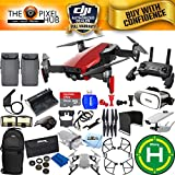 DJI Mavic Air Bundle With Filter Kit, Landing Pad, 64GB Micro SD, Landing Gear, Charging Hub + Much More (2 Battery Total, Flame Red)