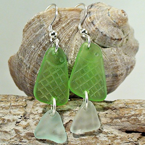 Funny Fishes Natural Sea Glass Earrings - Gift Beach Lover Jewelry - Sea Glass Jewelry For Women 925 Sterling Silver