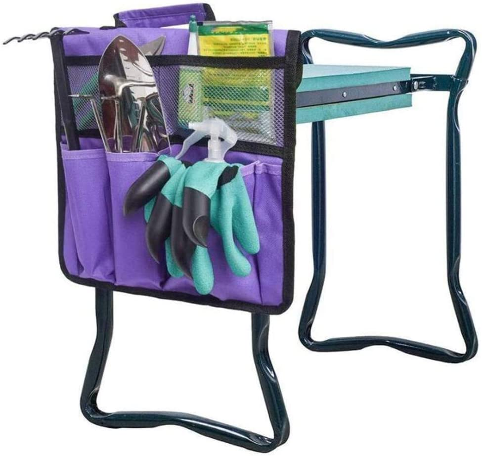 JUST N1 Garden Tools Set-Garden Kneeler Seat Tool Bag -Outdoor Work Portable Cart Storage Pouch Toolkit-Vegetable Herb Garden Hand Tools with Storage Tote(Purple,13'12.2in)