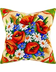 Bouquets. Cross Stitch Kit. Throw Pillow 16×16 Inches. Printed Tapestry Canvas, European Quality