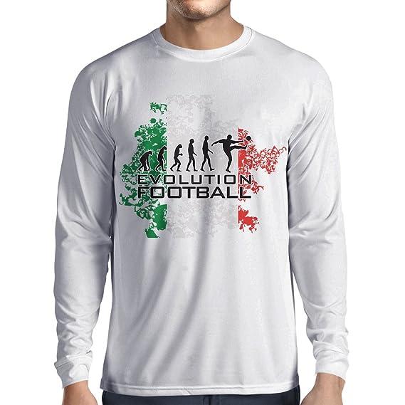 lepni.me Camiseta de Manga Larga para Hombre Evolución del Fútbol - Italia, Rusia Campeonato 2018, Copa del Mundo, Equipo de Fútbol Italiano: Amazon.es: ...