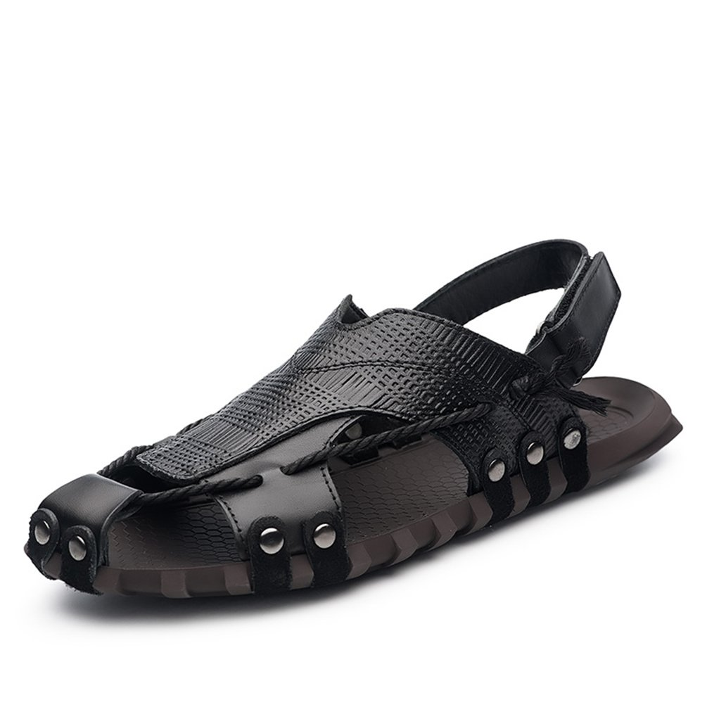 ailishabroy Herren Schwarz/Braun Echtleder Verstellbare Touch Befestigen Comfort Gladiator Sommer Sandalen Schuhe  46 EU|Schwarz