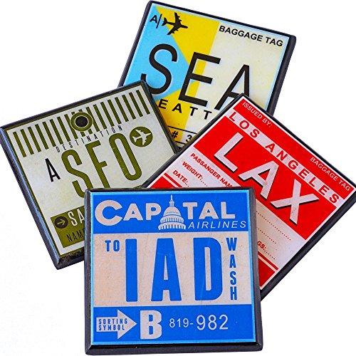 Vintage Airport Code Luggage Tag Drink Coaster ()