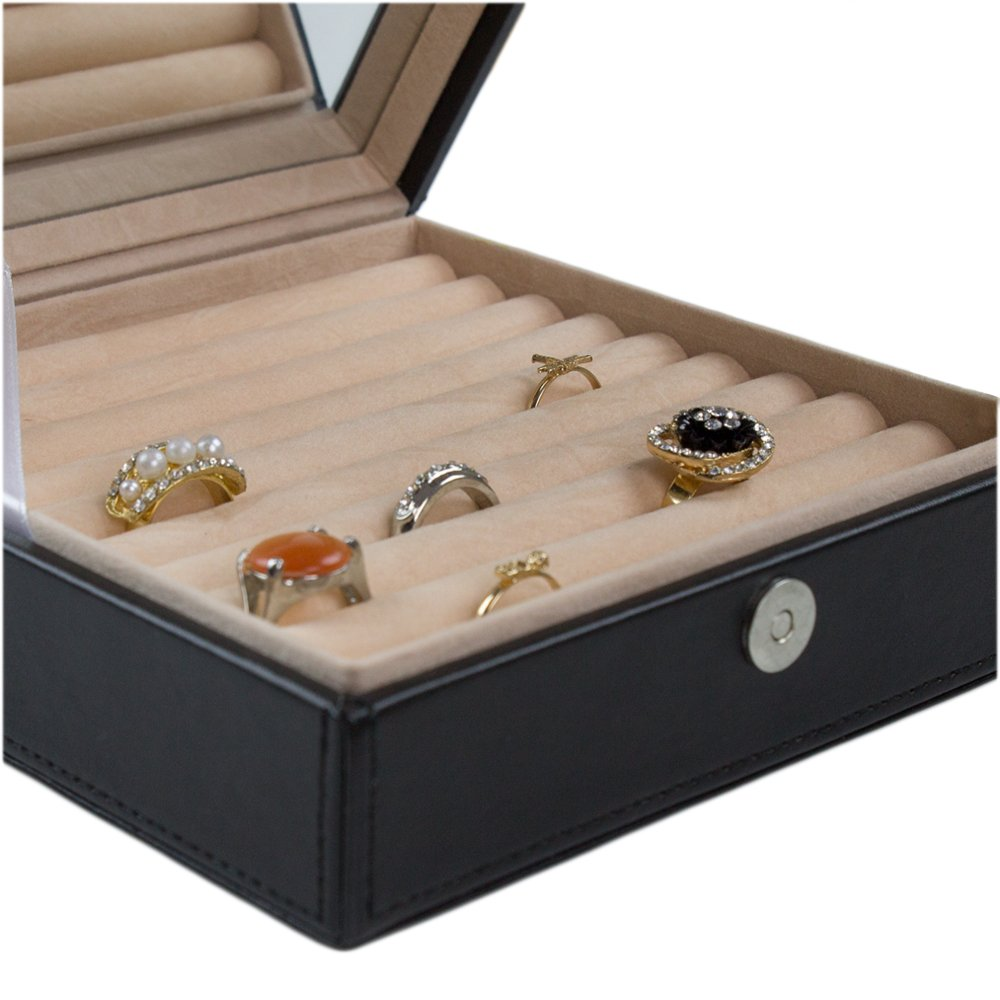 5f679ec4c Glenor Co Ring Box Organizer - 54 Slot Classic Jewelry Display Case Holder  - Storage Tray with Modern Buckle Closure, Large Mirror - Holds Rings and  ...