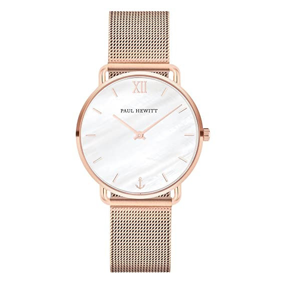 Amazon.com: Paul Hewitt Womens 33mm Rose Gold-Tone Steel Bracelet & Case Quartz MOP Dial Analog Watch PH-M-R-P-4S: Watches