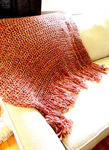 Throw Blanket,Orange Spice, Amber, Varied Shades,Rustic Home Design, Interior Design, Home Decor handmade fringed blanket (Throw College Afghan)