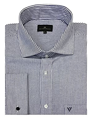 Cotton Valley Pure Cotton Oxford Blue Striped Shirt (15638) in Size 7XL