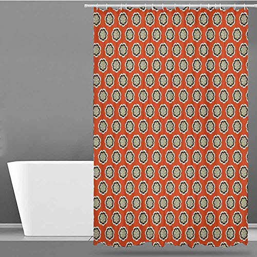 VIVIDX Shower Curtain,Geometric,Floral with Warm Color Palette Flowers and Retro Dots Surreal Art,Shower Curtain with Hooks,W55x86L Vermilion Cream Sage Green
