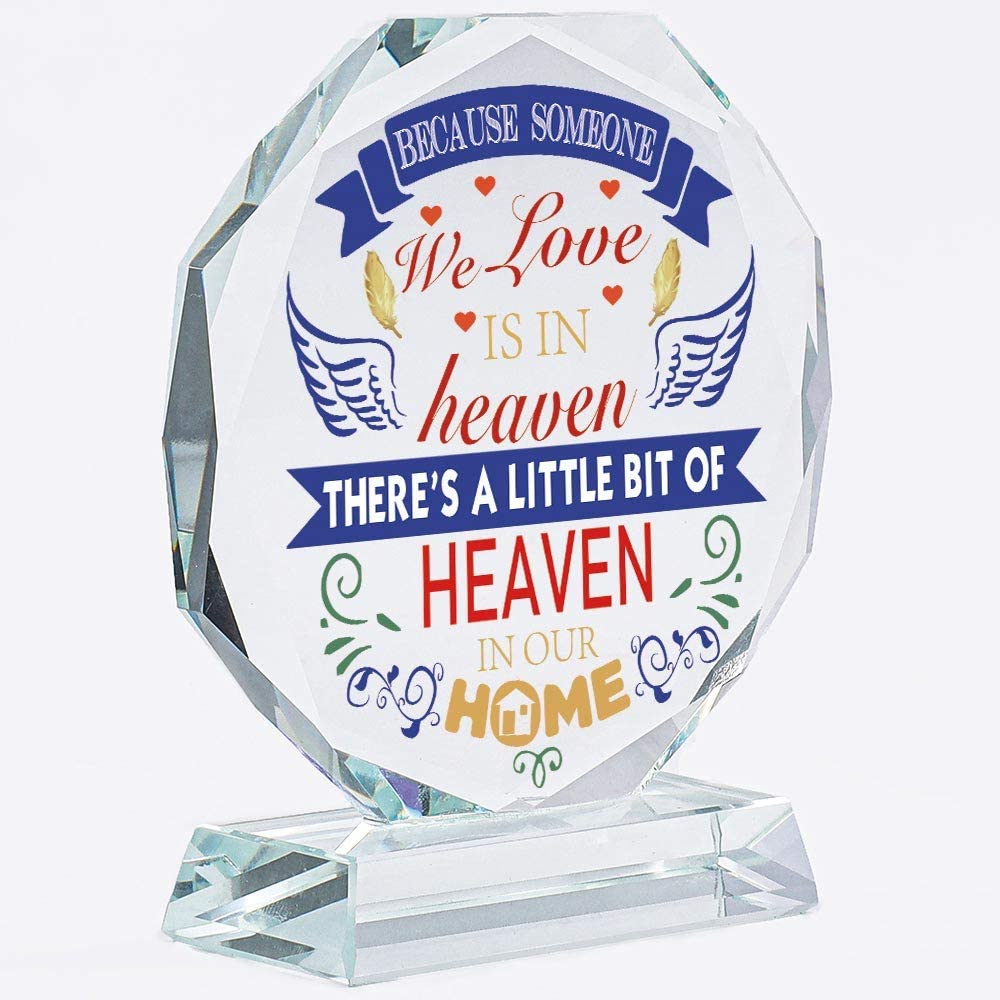 Home Heaven Eight Crystal Memorial Gifts | For Loss Of Loved Ones | Memory Gifts | Mother | Husband | Son | Sister | Brother | Plaque | Plate