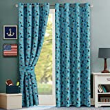 H.Versailtex Thermal Insulated Room Darkening Small Curtains / Drapes, Grommet Blackout Kids Room Panels - 52 inch Width by 63 inch Length - Set of 2 - Aqua Sea Sailing Pattern