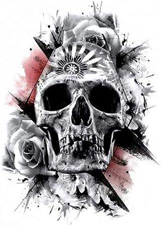 Just Fox – Tatuaje temporal, diseño de calavera, rosas, adhesivo temporal, arte corporal: Amazon.es: Belleza