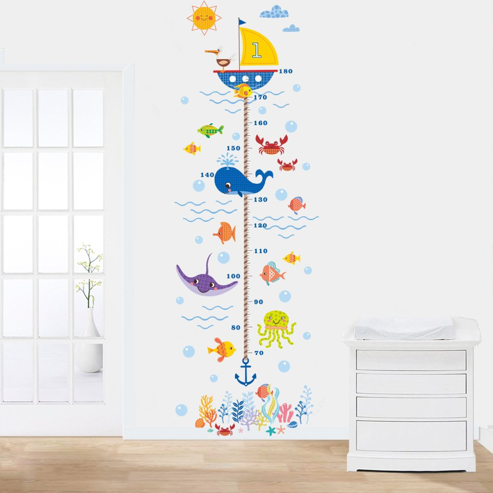 Woodland Arts 22 inches x 67 inches Undersea Fish Whale Octopus Crab Growth Chart Removable Vinyl Wall Decals Stickers for Children Room Nursery