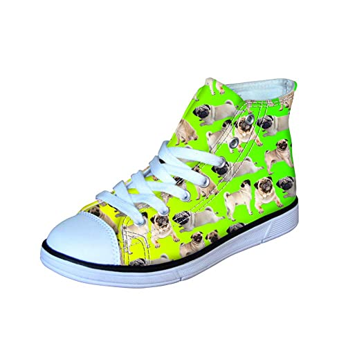 d12b533eb12ba HUGS IDEA Lightweight High Top Canvas Shoes Pug Puppies Print Cute ...