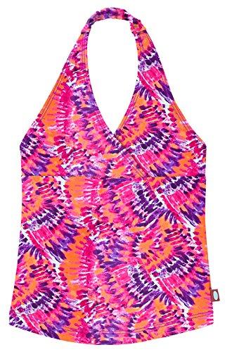 (City Threads Little Girls Tankini Swimsuit for Girls Toddler Bathing Suit Rash Guard Halter Top for Beach Pool Swimwear, Fiery Tie-Dye, 8)