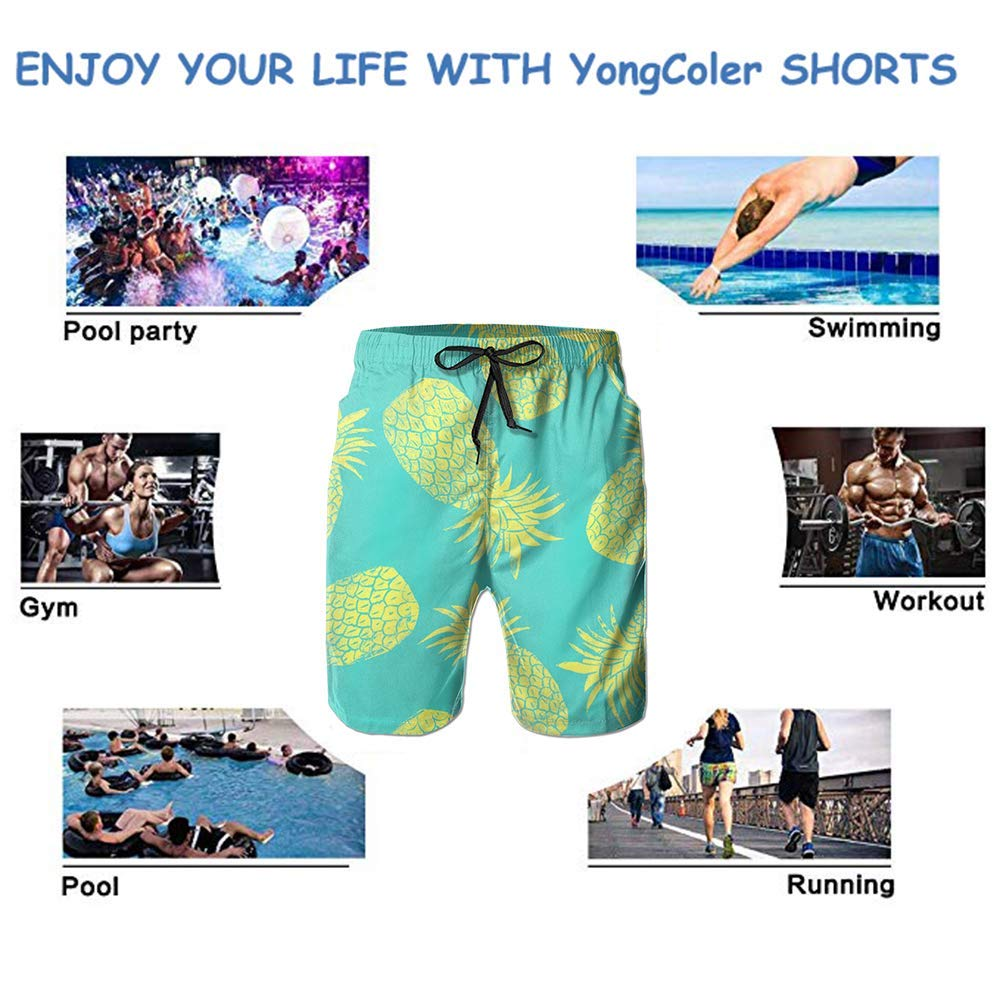 YongColer Men Swim Trunks Breathable Quick Dry Drawstring Board Shorts with Pockets