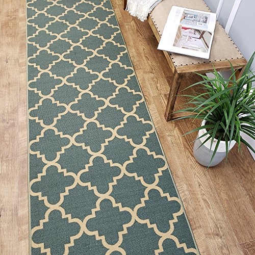 CUSTOM CUT 22-inch Wide by 14-feet Long Runner, Teal-Green Moroccan Trellis Non Slip, Non-Skid, Rubber Backed Stair, Hallway, Kitchen, Carpet Runner Rug - Choose your Width by (Busy Blue Contemporary Rug)