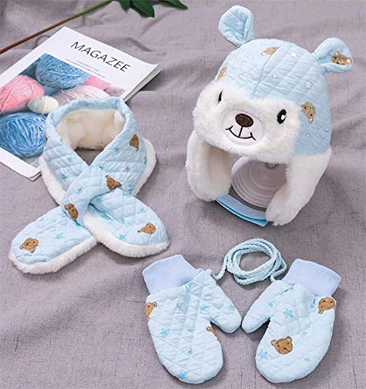 Baby Girl for Winter Hat Scarf Toddler Mittens,3 Pieces Baby Boy Winter Warm Set