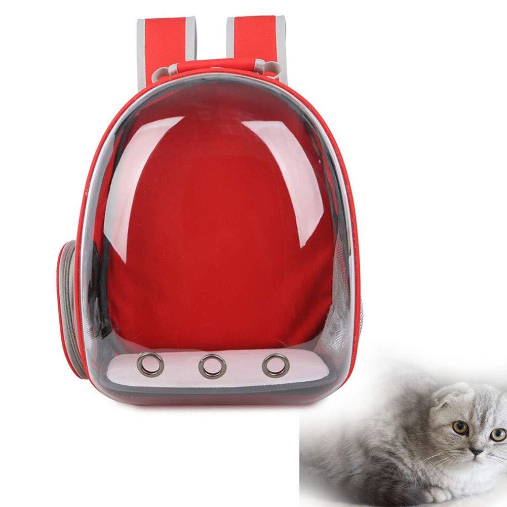 Cacoffay Borsa per Animali Domestici Portatile Ventilazione a Tre Fori, Capsula Completamente Trasparente Zaino a Spalla Doppia da Viaggio per Cani e Gatti,Red