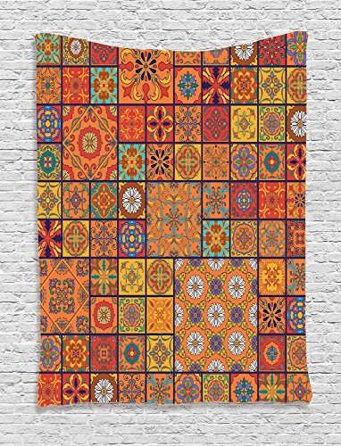 Hanging Patchwork (Ambesonne Moroccan Decor Collection, Collection of Moroccan Style Geometric Patterns Floral Ornamental Patchwork Print, Bedroom Living Room Dorm Wall Hanging Tapestry, Orange Red)