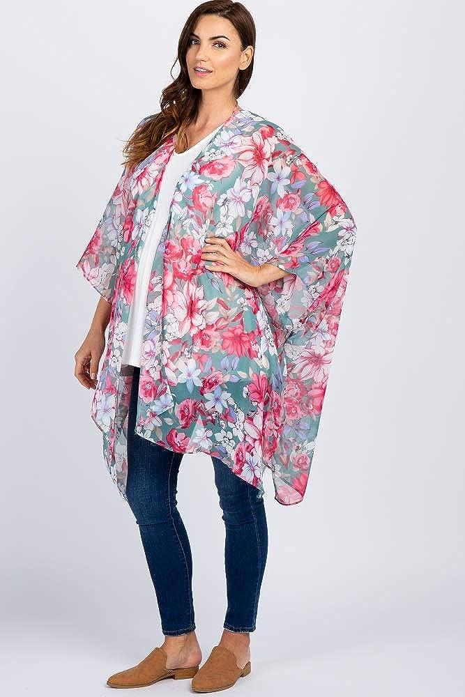 PinkBlush Maternity Floral Chiffon Asymmetrical Kimono