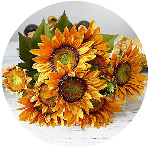 13 Heads High Simulation Oil Painting Big Bunch Plastic Sunflower Artificial Silk Sun Flowers Home Garden Christmas DIY -