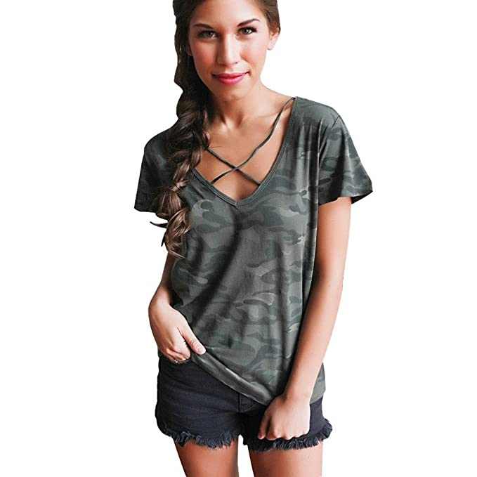 dfa43dec56b4 Image Unavailable. Image not available for. Color  HGWXX7 Women Summer  Loose Sexy Camouflage Straps V Neck Short Sleeve Tank Tops Blouse T-
