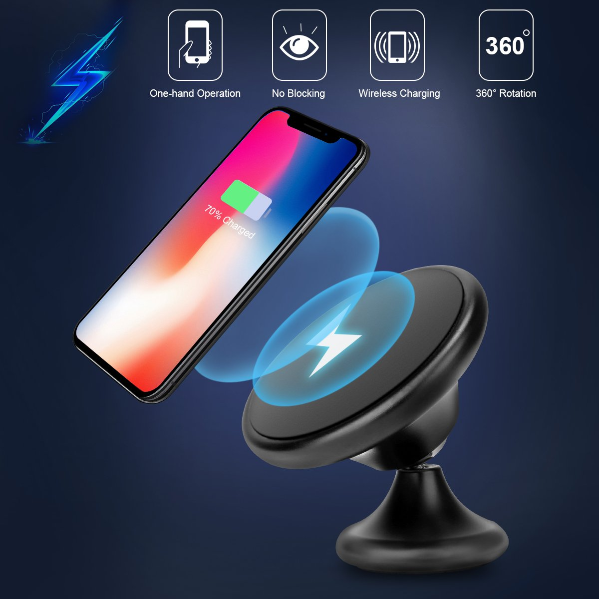 Wireless Car Charger, Fast Wireless Charging Car Mount Phone Holder 10W Charge for Samsung Galaxy S9 Plus S8 Plus S7 Edge Note 8 5 Charger Car Phone Mount 7.5W for iPhone X 8 Plus (Black)
