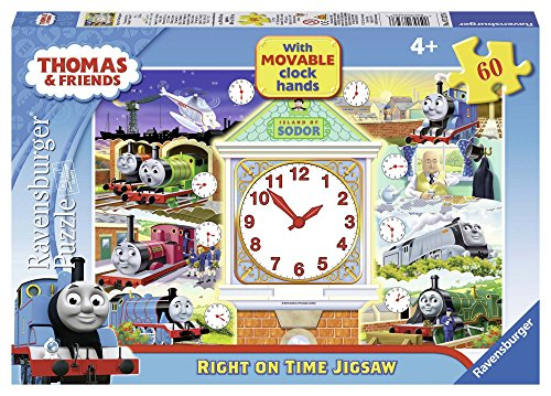 Clock Puzzle Hands - Ravensburger Thomas & Friends Right on Time Puzzle with Movable Clock Hands, 60-Piece