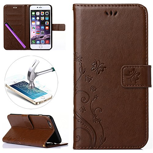 iPhone 6 6S Case, ISADENSER Embossed Flowers PU Leather Wallet Case with Foldable Kickstand Stand for iPhone 6 6S + 1pcs Tempered Glass Screen + 1pcs Stylus Pen (Flowers Light Brown)