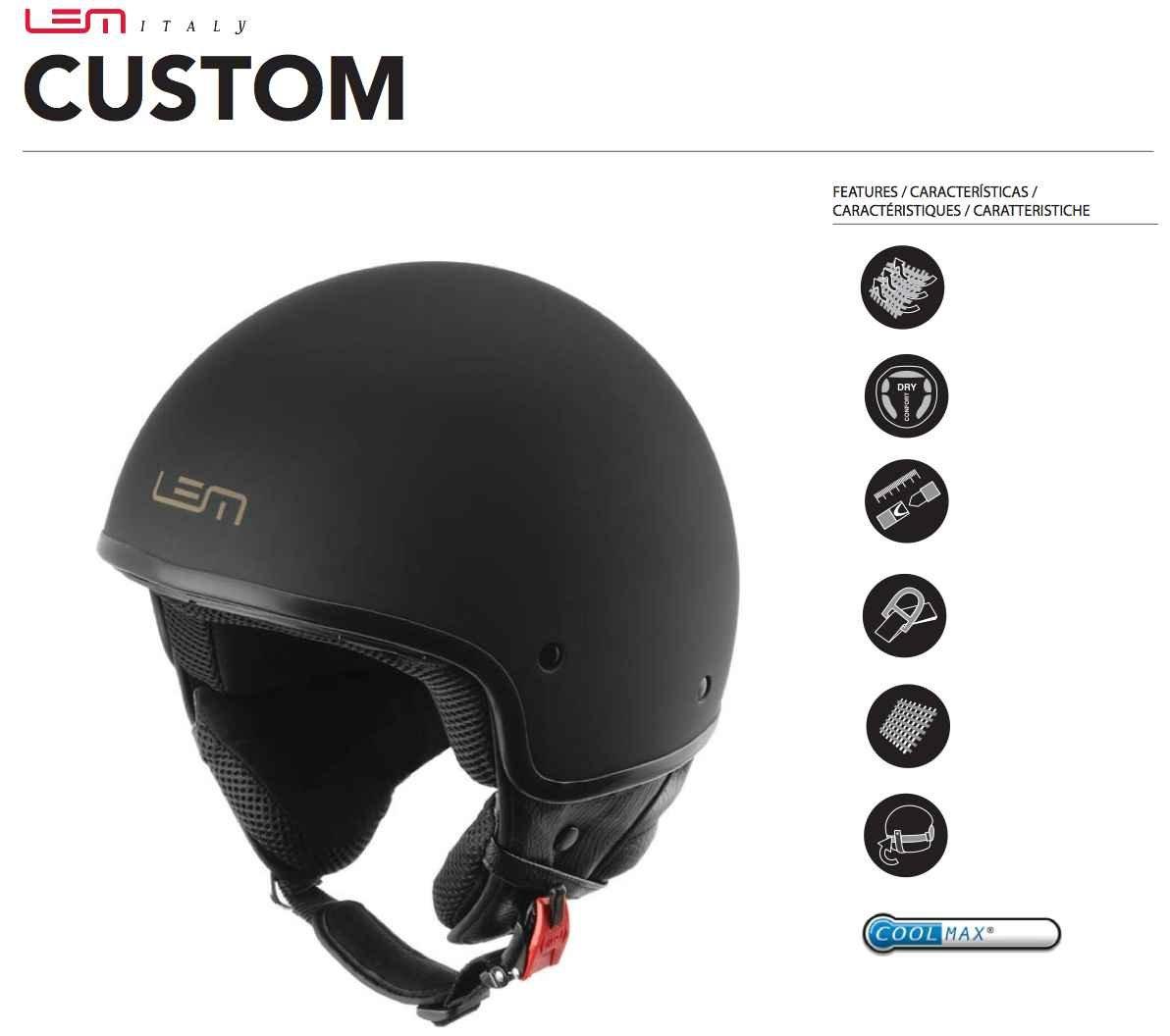 Amazon.es: Casco Moto LEM - Roger Custom Black Powder, NEGRO ...