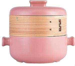 Steamer Set with Lid, Steamer Pot Food Steamer Cooking Pot Soup Pot Ceramic Pan, Multifunction Stovetop Pot, for Kitchen 1.5L,Pink,1.5L