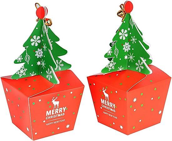FLOFIA 25pcs Cajas Cajitas Regalo Navidad Cartón Papel Caramelos Forma Árbol de Navidad para Dulces Galletas Chocolates Pastel Regalos de Fiestas Año Nuevo Campanas Cuerdas Incuídas: Amazon.es: Hogar