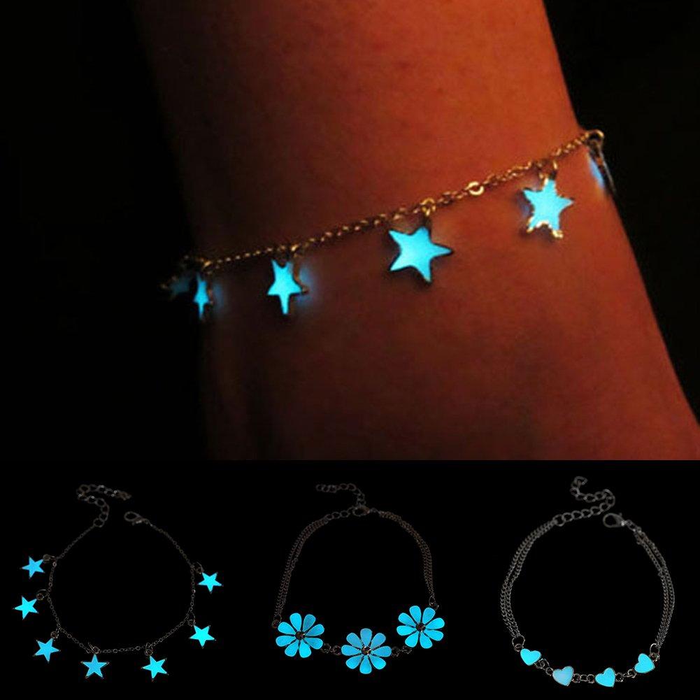 yibenwanligod Girls Fashion Little Star Heart Flower Glow in the Dark Ankle Bracelet Anklet Women's Part