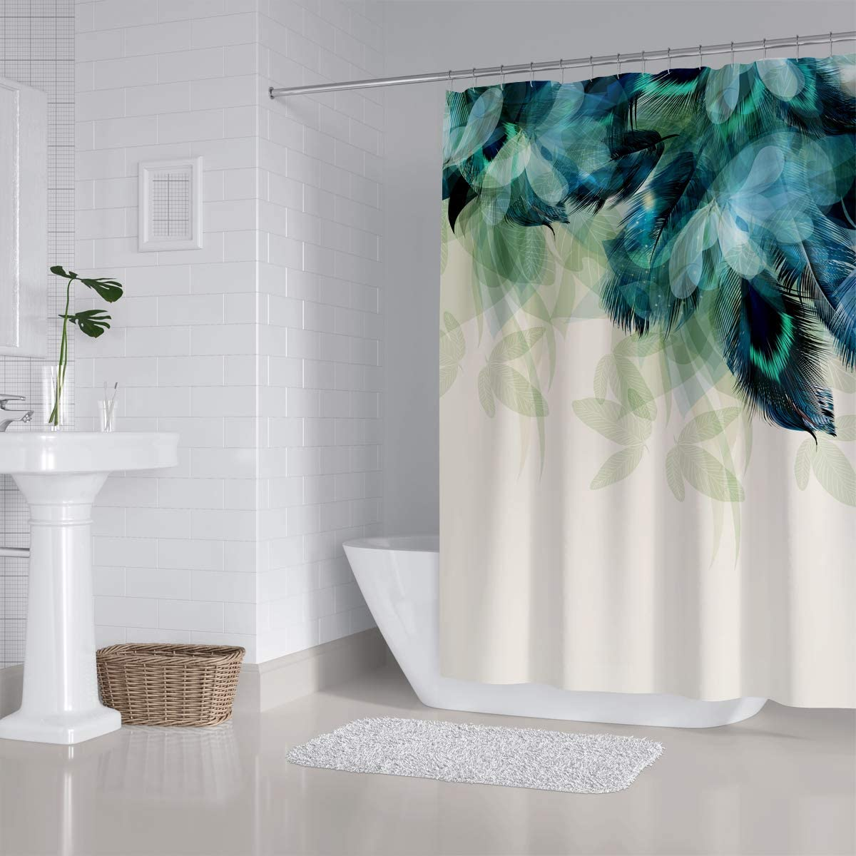 ZXMBF Watercolor Peacock Feather Shower Curtain Teal Blue Turquoise Floral Green Leaf Home Décor Waterproof