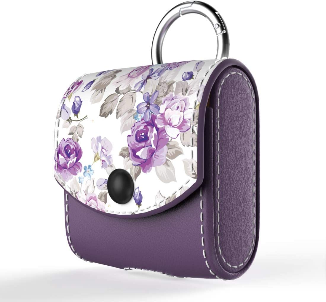 wenew Leather Case for AirPods 1/AirPods 2 Snap Closure Protective Cover Case with Carabiner Keychain for Apple AirPods 1 & AirPods 2 Charging Case Flower (Purple)