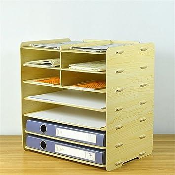 Caja de almacenamiento para archivadores de madera, tamaño A4, 7 capas, soporte para revistas, carpetas, color blanco arce: Amazon.es: Oficina y papelería