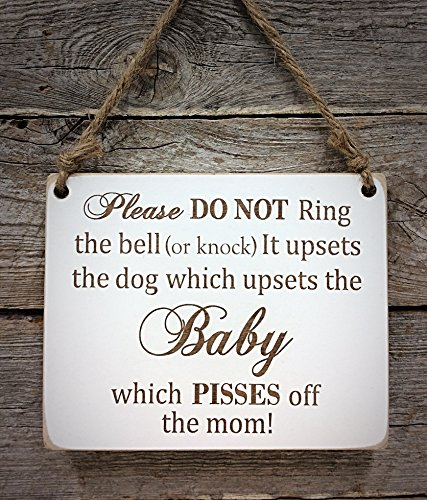 Baby Sleeping Do Not Disturb Sign - Pisses off the Mom - (Single) Dog Do Not Disturb Sign - Baby Sleeping Sign - Baby Shower Gift (Sign Sleeping Child)