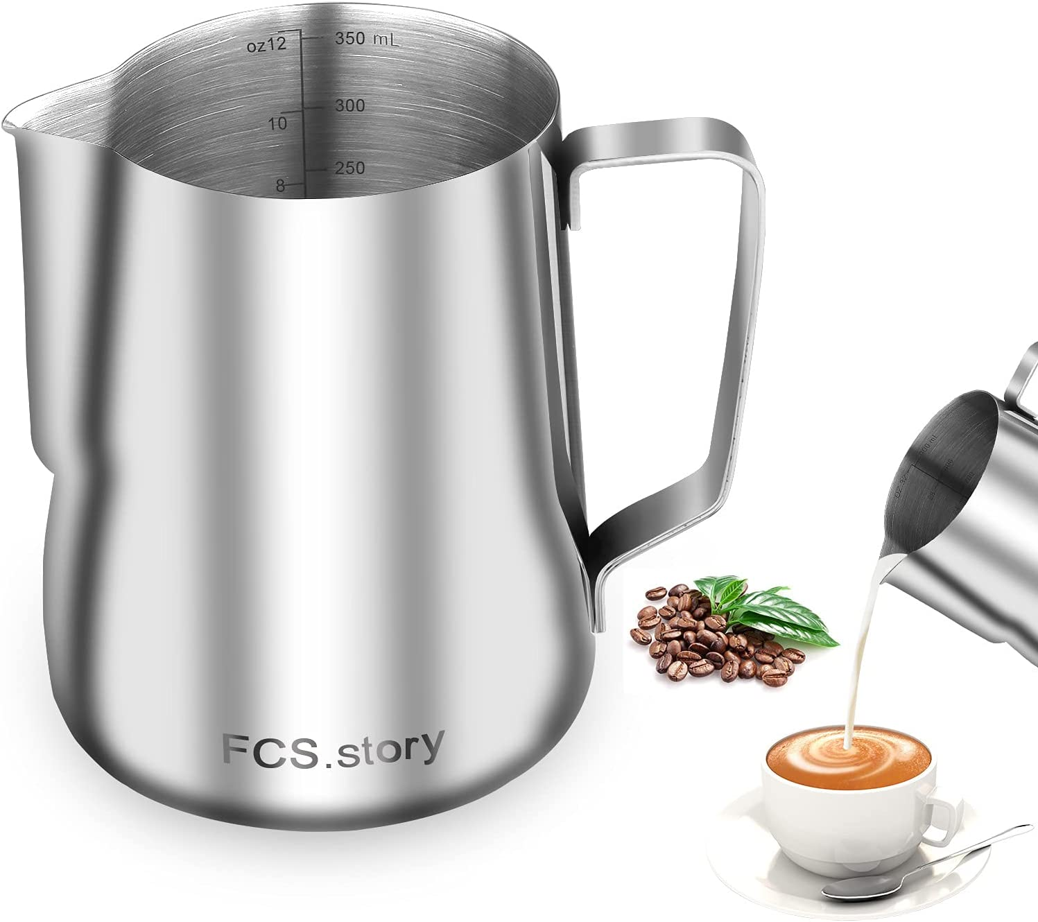 Stainless Steel Milk Frothing Pitcher, 12oz Milk Steaming Pitchers, Coffee Latte Art Milk Jug Cup with Measurements on Sides (12oz)